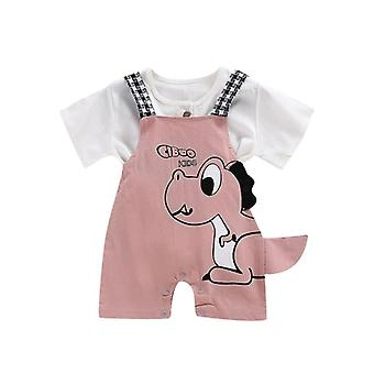 Summer Baby & Grils Shorts, Dinosaur Cartoon Printing Suspender Trousers