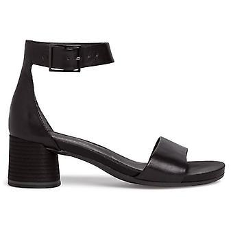 Sandale en cuir Tamaris noire avec talon et sangle