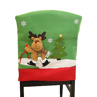 Homemiyn Brushed Fabric Christmas Chair Cover Christmas Pattern Chair Cover