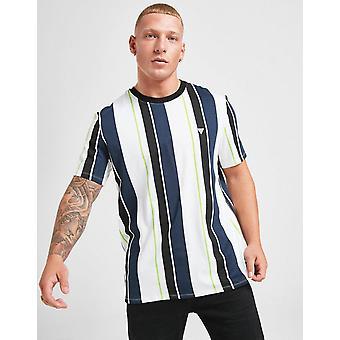 חדש לנחש גברים &s אנכי פסים קטן לוגו חולצת טריקו לבן
