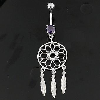 Purple Crystal Stone Star Cut out Dream Catcher Dangling Sterling Silver Belly Bars Piercing