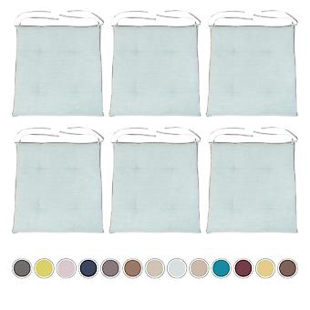Sky Blue 6pk Garden Cushion Chair Seat Pad Slip Free Tufted hypoallergenic Seating
