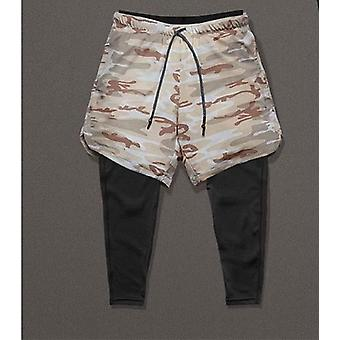 Mężczyźni 2w1 Chudy elastyczne długie spodnie legginsy fitness