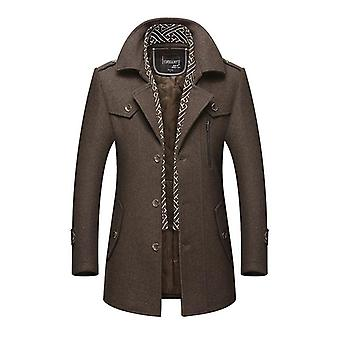 Men New Casual Brand Solid Color Wool Blends Woolen Pea Coat For Winter