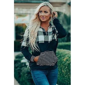 Striped Pocket Zipper Collar Sweatshirt