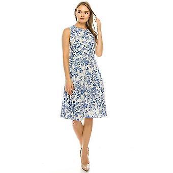 Floral Sleeveless Pleated Dress