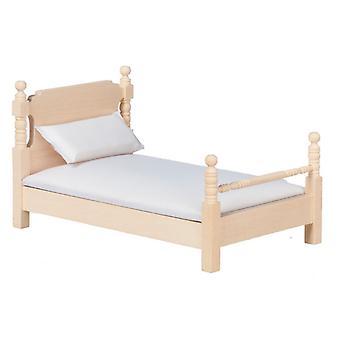 Puppen Haus unvollendet 01:12 Maßstab Schlafzimmer Möbel natur holz Doppelbett