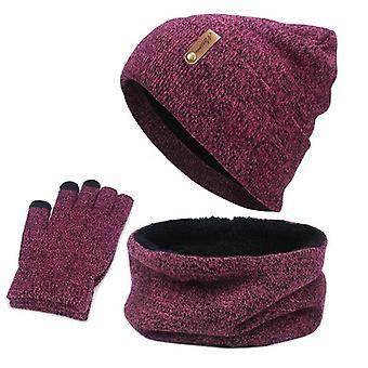 כובע שעועית, צעיף טבעת, סט כפפות, חורף סרוג עבה כובע חם, נשים,