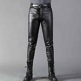 Men Leather Pants Skinny Fit Elastic Style Fashion Pu Leather Trousers