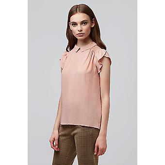 Louche Womens Clemeur Tri Dobby Short Sleeve Blouse Pink