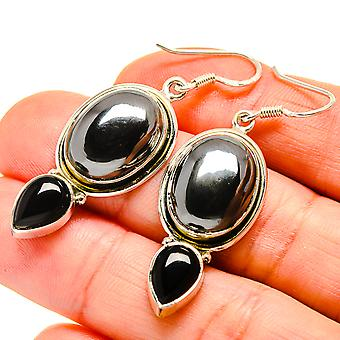 "Hematite, Black Onyx Earrings 2"" (925 Sterling Silver)  - Handmade Boho Vintage Jewelry EARR411017"