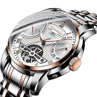 GUANQIN GH17002 Kalendarz Automatyczny zegarek mechaniczny Full Steel Men Zegarek na rękę