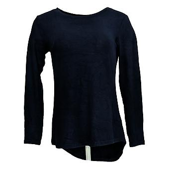 Lisa Rinna Collection Women's Top XXS Hacci Knit Curved Hem Blue A341720