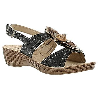 Inblu instill womens ladies wedge sandals black UK Size