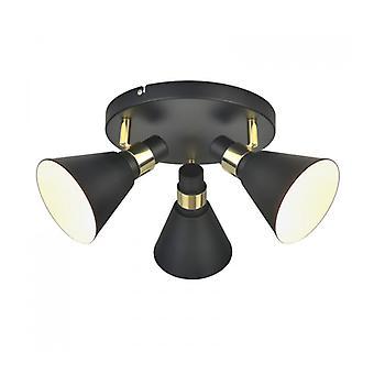 Lámpara De Techo Industrial Y Retro Biagio Matt Negro, Dorado