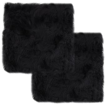 cuscino sedia vidaXL 2 pezzi. Grigio scuro 40×40 cm Pelle di pecora genuina