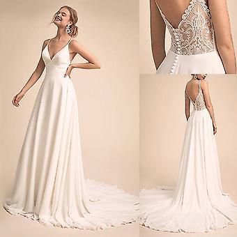 V-neck Neckline  Wedding Dress With Lace, Bridal Wear