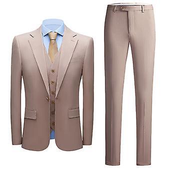 YANGFAN Men's 3-Piece Suit Slim Fit One Button