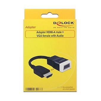 HDMI to VGA with Audio Adapter DELOCK 65587 15 cm White Black