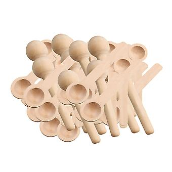 50pcs mini pequeña cuchara hecha a mano herramienta de madera de la naturaleza para la sopa de sal de azúcar