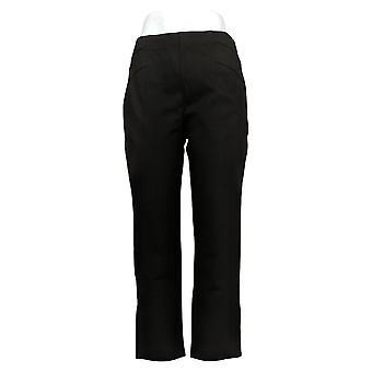 Susan Graver Women's Pants S Petite Knit Pull-On w/ Seam Detail Black A372470
