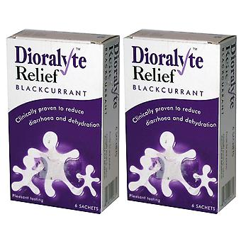 2pk Dioralyte Relief Oral Dehydration Therapy Powder Black Current, 6 Sachets