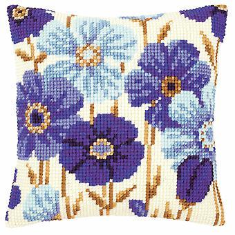 Vervaco Крест стежка комплект: Подушка: Голубые цветы
