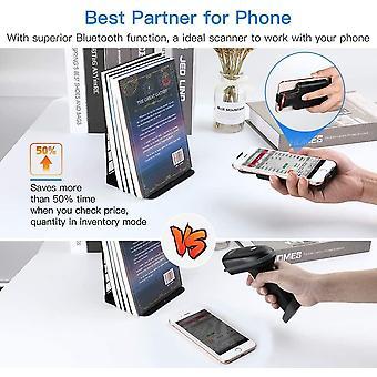 2D Tragbar Bluetooth Tragbar Barcode Scanner, zurück Clip Kabellos 1D Qr Barcode Leser Mit Bluetooth