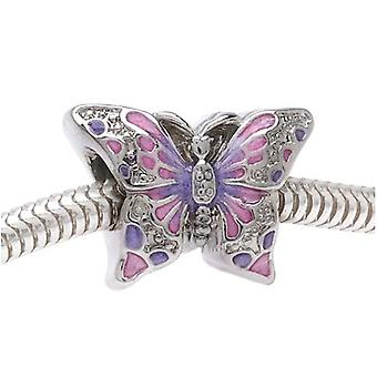 Final Sale - Silver Tone Two Sided Pink And Purple Butterfly - European Style Large Hole Bead (1)