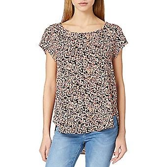 Only ONLVIC SS AOP Top Noos Wvn T-Shirt, Black/AOP:Scarlet Neon Ditsy, 44 Woman