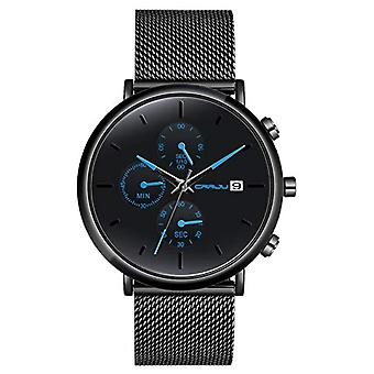 SUPBRO Minimalist quartz thin men's watches with black mesh strap(7)