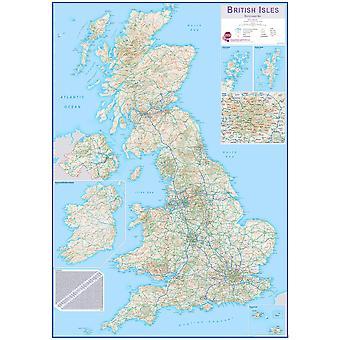 Karta över medel brittiska öars ruttplanning (pappers laminering på en sida)