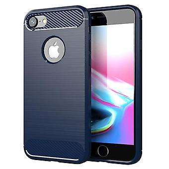 Tpu carbon fiber hoesje voor iphone 8 plus blauwe mfkj-780