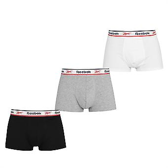 Reebok Mens 3 Pack Cotton Performance Trunks Brushed Nylon Waistband Underwear