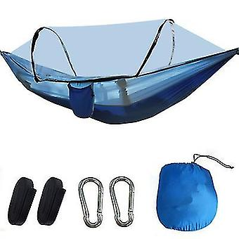 Blue portable automatic quick opening camping pole mosquito net hammock x943