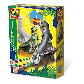 SES Creative - T-rex giet- en schilderset voor kinderen (meerdere kleuren)