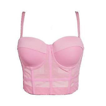 Kvinders Mesh Breath Push Up Bustier Crop Top Club Party Vest (L)