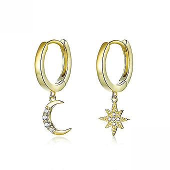 Earrings Star And Moon S925 Sterling Silver Antiallergy For Daily Use