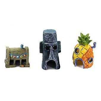 3 az 1-ben Egyedi design Fish Tank Akvárium Dekoráció Ananász Ház