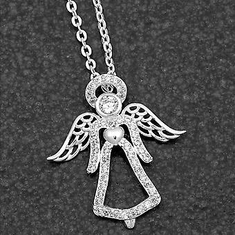 Guardian Angel Silver Placed Necklace - Gift Boxed