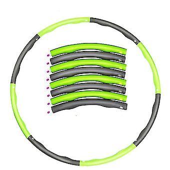 Hula hoop portatile rimovibile in 8 parti, Abdominal Exerciser Fitness Strength Hula Hoop (Verde e Grigio)