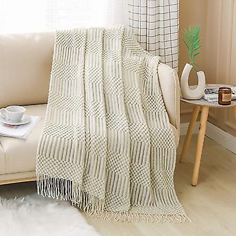Textured throw blanket solid soft for sofa couch decorative knitted blanket, beige