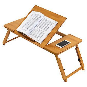 justerbar bambus laptop stativ bærbar bærbar bord med anti-slip baffle seng lap desk