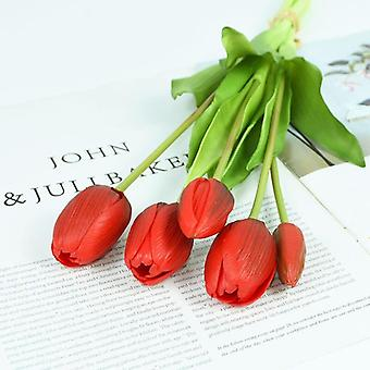 5Pcs/bunch artificial tulips bouquet real touch silicone fake flowers for home garden living room decoration wedding party