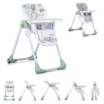 Moni høy stol muffin sammenleggbar, 5-punkts sikkerhetsbelte, ryggstøtte justerbar