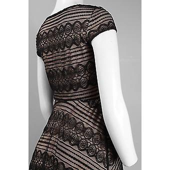 Mütze Ärmel V-Ausschnitt Spitze Overlay Flared Kleid