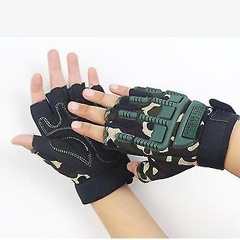 Taktické vojenské ozbrojené protišmykové gumové rukavice bez prstov