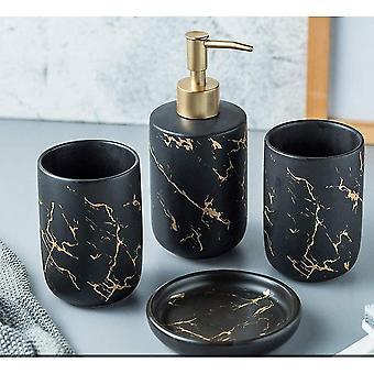 Set von 4-teiligen Badezimmer-Accessoires Set mit schwarzem modischem Badezimmer (