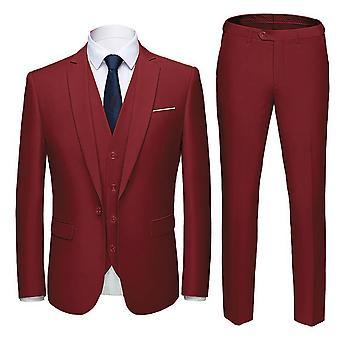 Homemiyn Miesten kolmiosainen Pure Color Slim Casual Suit (yläosa + liivi + housut)