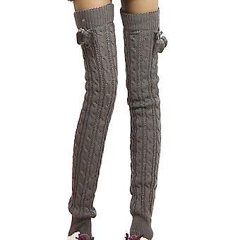 Naiset kaapeli neulos jalka lämpimämpi virkattu sukka yli polven pitkät sukat